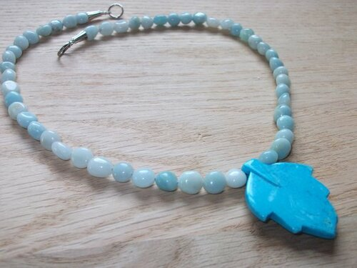 Viking Brooch Chain - in Woad (Light Blue) w/ pendant