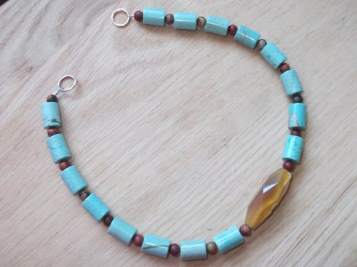 Brooch Chain - in Light Blue and Brown
