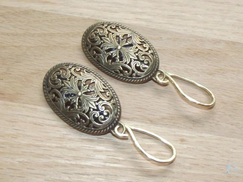 Viking Apron Brooches - Small Antique Gold - Oval