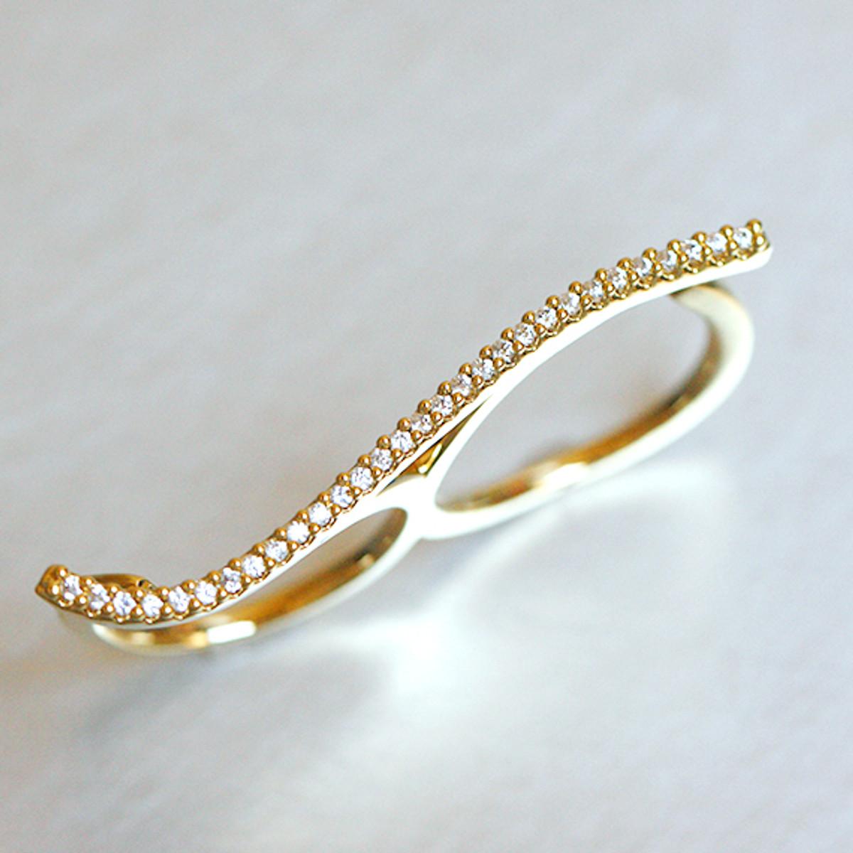Ring On Left Ring Finger: CZ Wave Two Finger Ring Gold At Kellinsilver