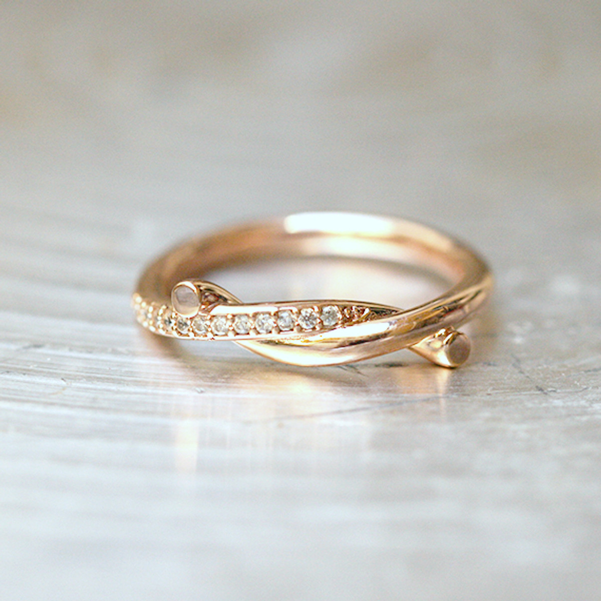 Cz Rose Gold Knot Ring Sterling Silver Kellinsilver Com