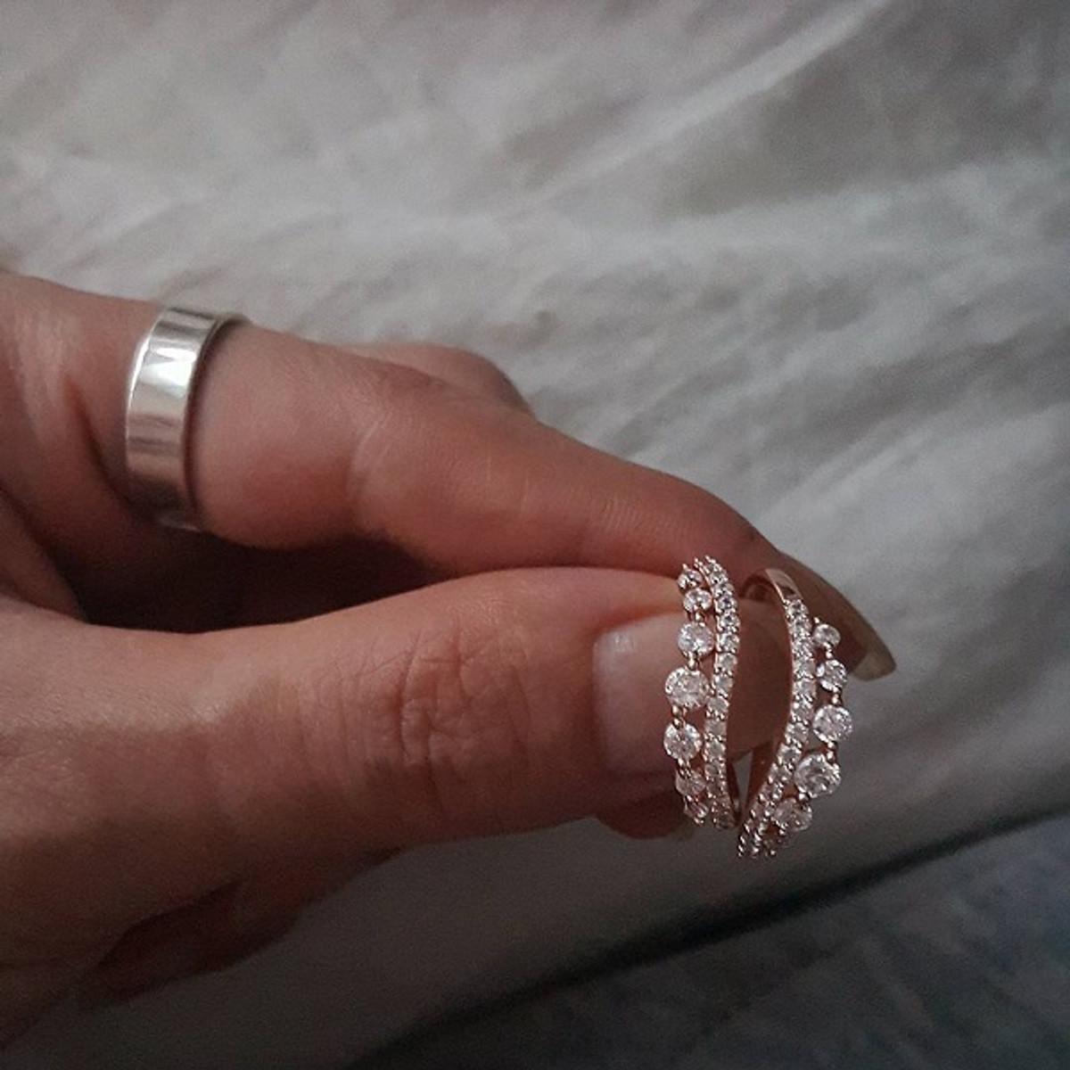 CZ Elegant Rose Gold Wave Tiara Engagement Ring Set Sterling Silver