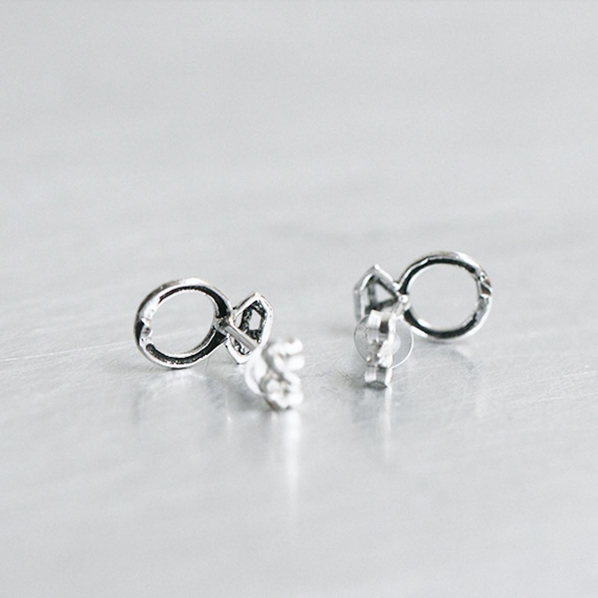 0eeda9fbe Oxidized Silver Tiny Diamond Ring Stud Earrings from kellinsilver.com