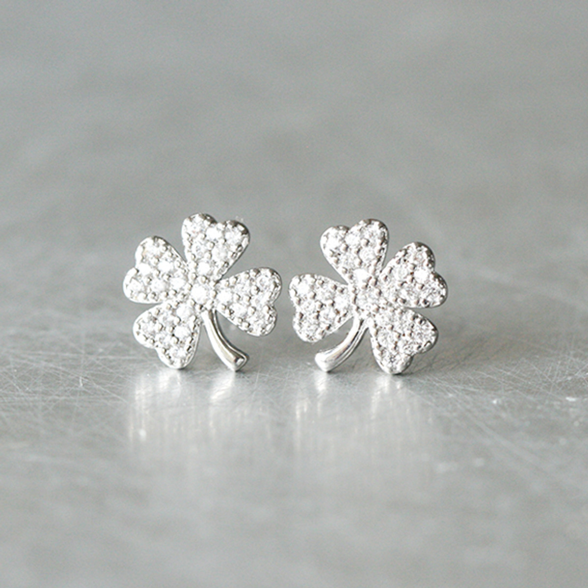 72c7ec6bca9df White Gold CZ Four Leaf Clover Earrings Sterling Silver