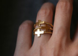 Gold Sideways Cross Rings Sterling Silver from kellinsilver.com