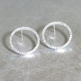 White Gold Swarovski Outline Circle Earrings Stud from kellinsilver.com