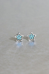 Turquoise Small Star Stud Earrings Oxidized Sterling Silver from kellinsilver.com