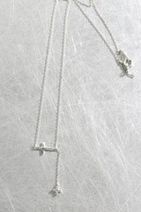 White Gold Hammered CZ Cross Necklace Sterling Silver from kellinsilver.com
