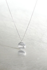 White Gold Disc Charm Diamond Necklace Sterling Silver from kellinsilver.com