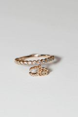 Rose Gold Horseshoe Charm Ring Sterling Silver on kellinsilver.com
