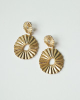Gold Pleated Oval Dangle Earrings from  kellinsilver.com