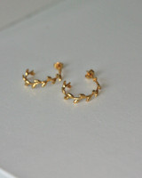Gold Olive Leaf Hoop Earrings Sterling Silver on kellinsilver.com