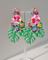 Tropical leaf beaded Earrings from kellinsilver.com
