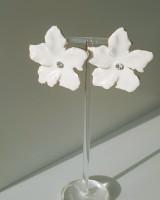 Enamel Daisy Stud Earrings Cream from kellinsilver.com