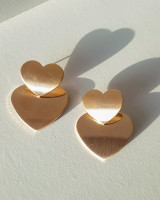 Gold Double Heart Earrings from kellinsilver.com