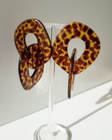 Sibilia Linked Hoop Drop Earrings in Leopard on kellinsilver.com