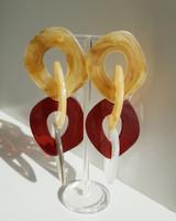 Chunky Catherine Acrylic Hoops in Honey Multi on kellinsilver.com