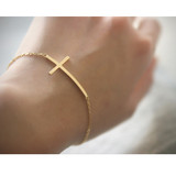 Gold Sideways Cross Bracelet Sterling Silver from kellinsilver.com