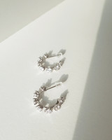Scattered CZ Hoop Earrings in Sterling Silver on kellinsilver.com
