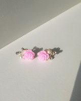 Tiny Pink Rose Earrings on kellinsilver.com