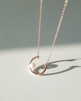Rose Gold Horseshoe with Pearl Necklace in Sterling Silver on kellinsilver.com