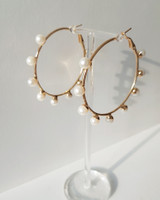 Scattered Pearl Gold Hoop Earrings on kellinsilver.com