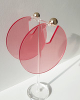 Acrylic Disc Hoop Earrings in Pink on kellinsilver.com
