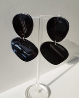 Acrylic Curved Drop Earrings in Black on kellinsilver.com