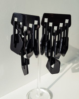Acrylic Chandelier Earrings in Black on kellinsilver.com