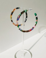48mm Acrylic Thin Hoop Earrings in Multi on kellinsilver.com