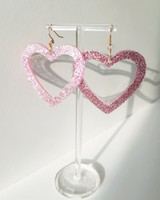 Pink Glitter Heart Earrings on kellinsilver.com