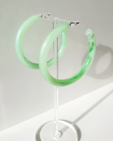 55mm Resin Hoop Earrings in Green on kellinsilver.com