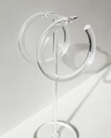 55mm Resin Hoop Earrings in Clear on kellinsilver.com