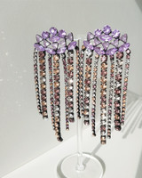 Zoe Rhinestone Earrings in Violet on kellinsilver.com