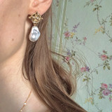 Vintage Coin Pearl Earrings on kellinsilver.com