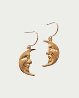 Gold Crescent Moon Face Earrings on kellinsilver.com