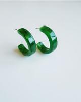 Moli Acrylic Hoop Earrings in Green on kellinsilver.com