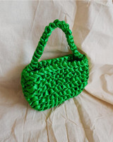 Satin Ribbon Mini Tote Bag in Green on kellinsilver.com