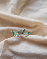 Tiny Green Butterfly Earrings on kellinsilver.com