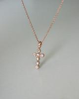 Rose Gold Bezeled CZ Cross Necklace in Sterling Silver on kellinsilver.com