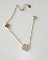 Rose GOld CZ Four Leaf Clover Bracelet in Sterling Silver on kellinsilver.com