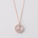 Rose Gold Swarovski Peace Sign Necklace Sterling Silver from kellinsilver.com