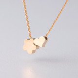 Yellow Gold Daisy and Heart Necklace Sterling Silver