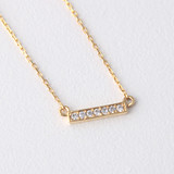 Seven Swarvoski Gold Bar Necklace Sterling Silver