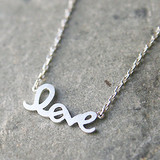 Silver Love Script Necklace