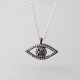 Swarovski Black Evil Eye Necklace Sterling Silver from kellinsilver.com