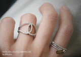 CZ Sterling Silver Knot Ring White Gold