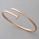 CZ Rose Gold Nail Cuff Bracelet Sterling Silver FROM KELLINSILVER.COM