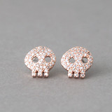 Swarovski Rose Gold Skull Earrings Studs