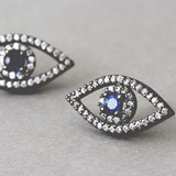 Swarovski Black Evil Eye Earrings Stud from kellinsilver.com